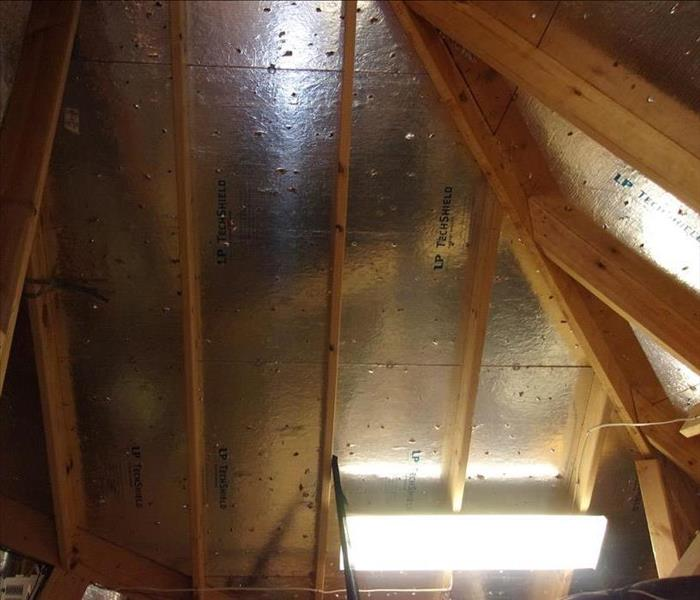 Attic during fire restoration.