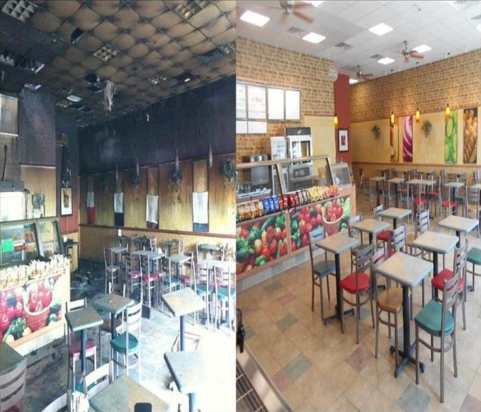 Before and after picture of a Subway Restaurant after fire damage